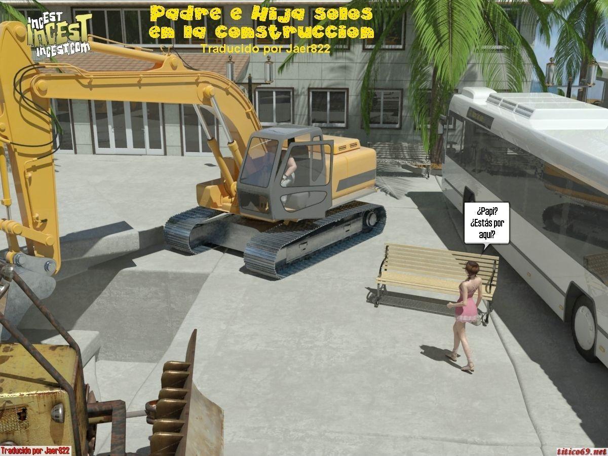 Padre e Hija solos en la construccion