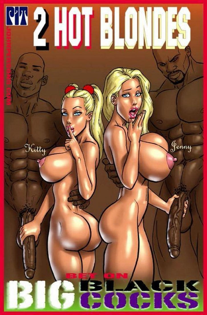 Two hot blondes bet on big black cock 1